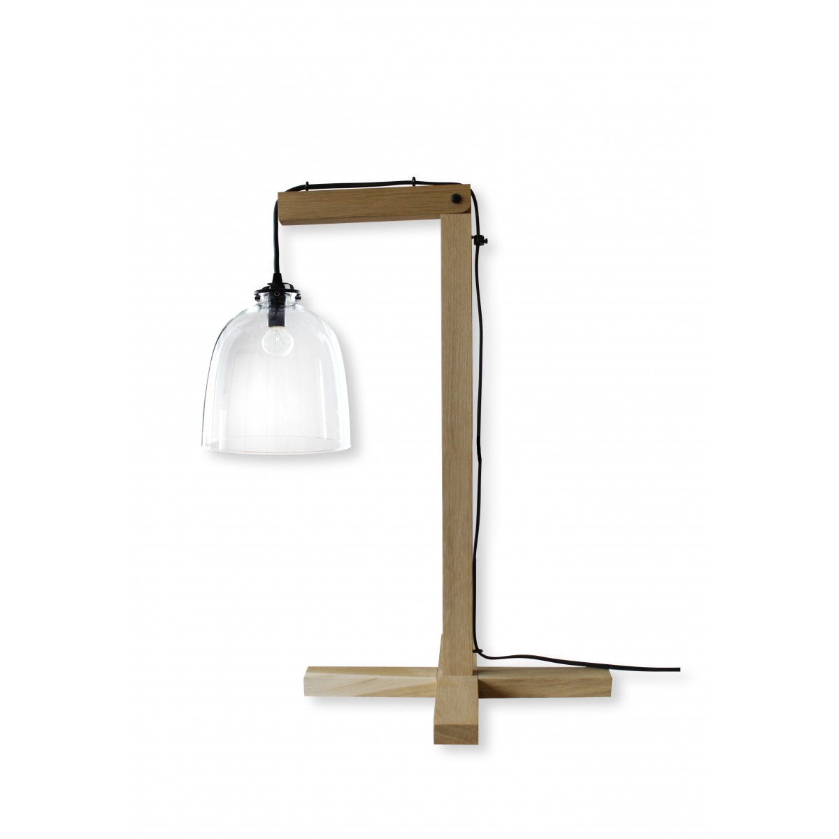 Lampe en bois brut abat jour en verre clochette angel des for But lampe a poser