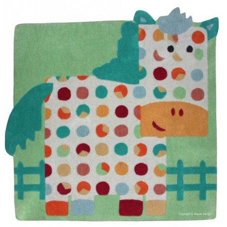 Tapis d co enfants b b motif cheval vert orange bleu for Tapis chambre motif cheval