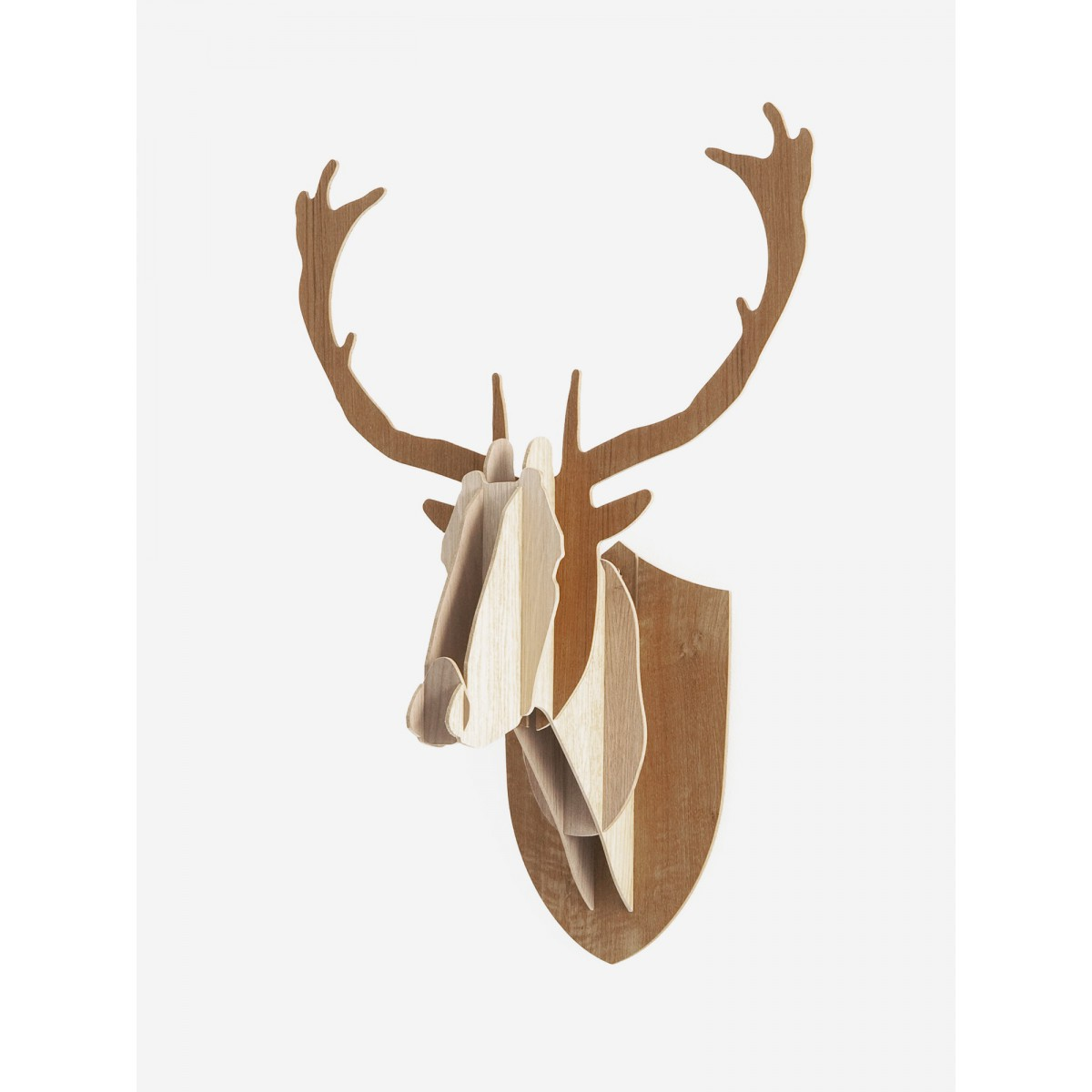 troph e t te de cerf en bois sign big game. Black Bedroom Furniture Sets. Home Design Ideas