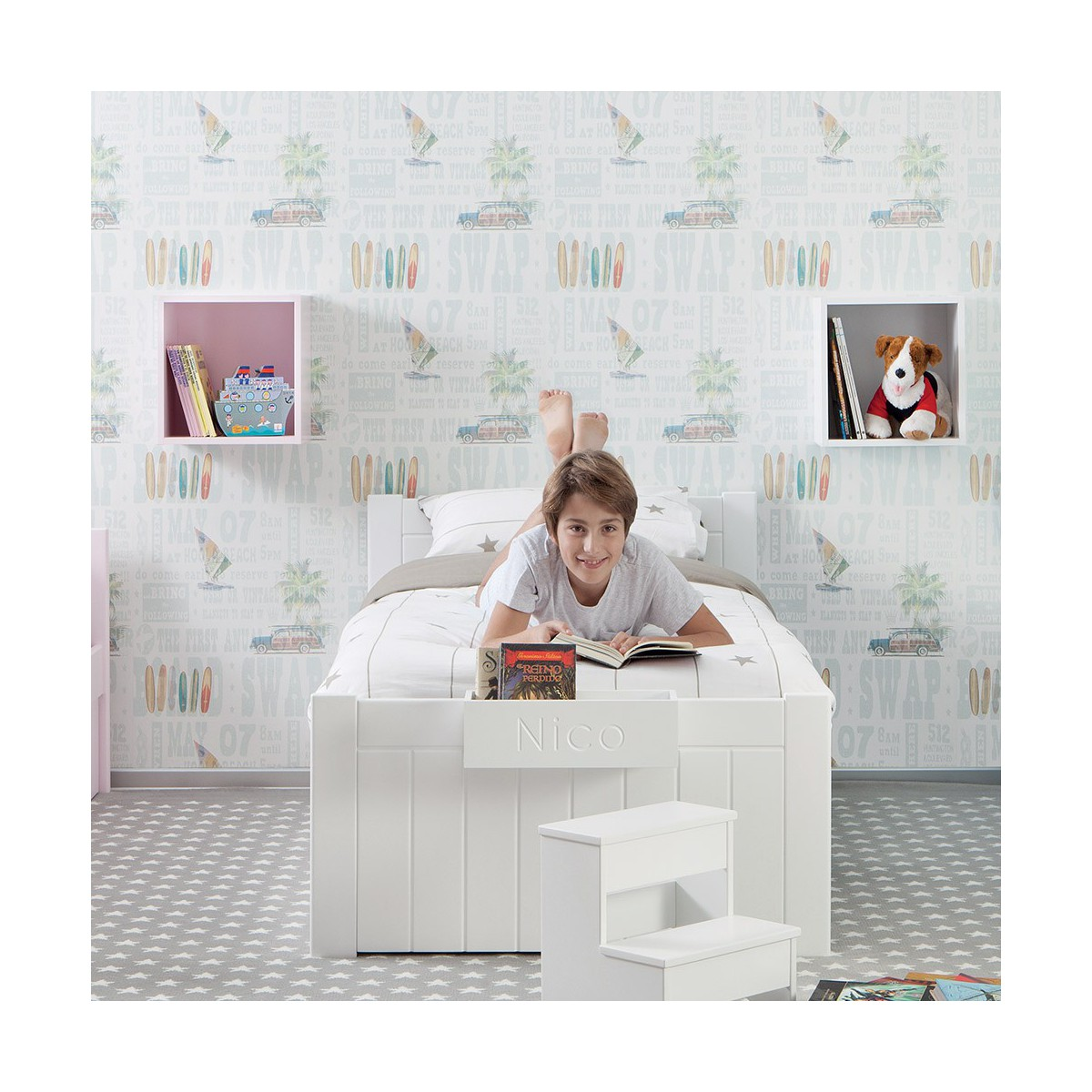 lit simple pour enfant bahia par asoral. Black Bedroom Furniture Sets. Home Design Ideas