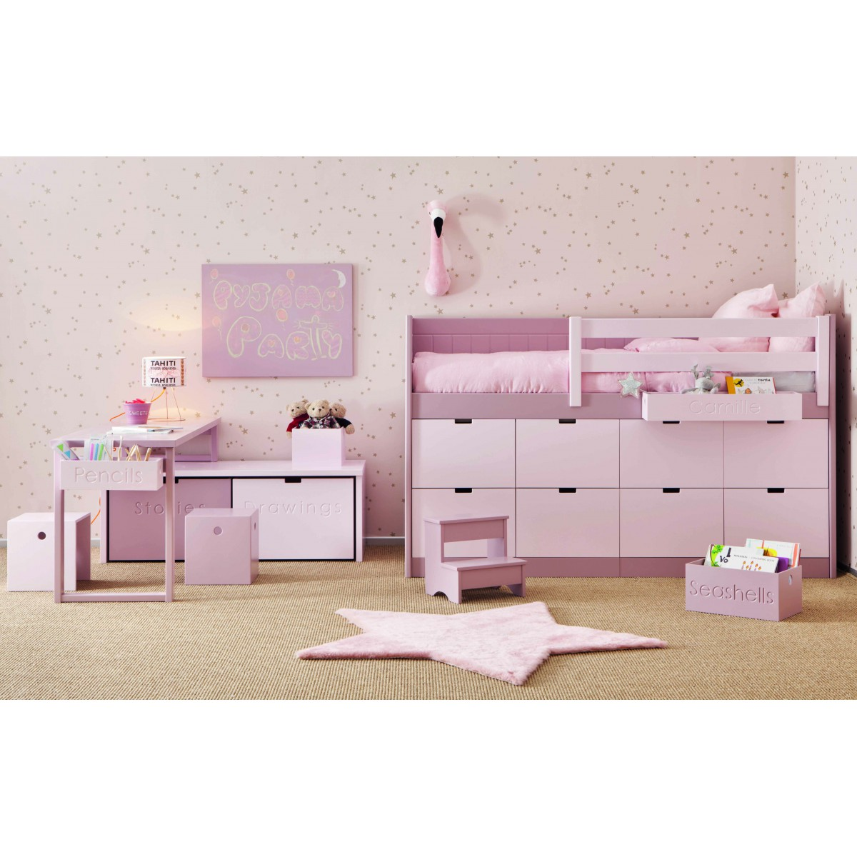 lit enfants juniors avec 8 tiroirs de rangement bahia. Black Bedroom Furniture Sets. Home Design Ideas