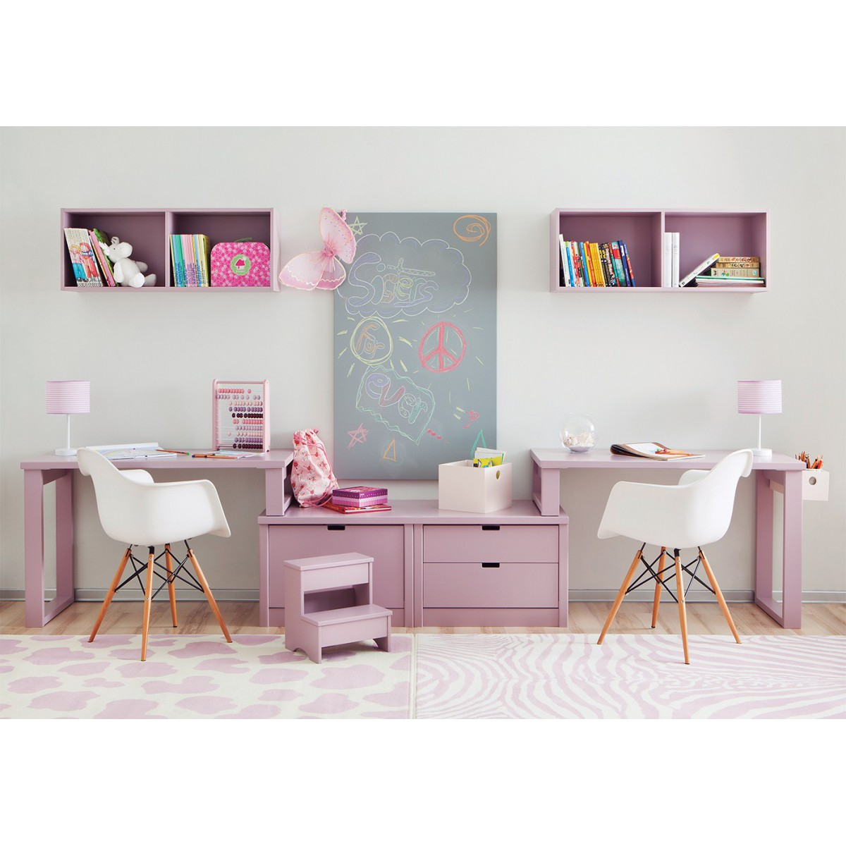 double bureau pour 2 enfants juniors avec caissons de rangement asoral. Black Bedroom Furniture Sets. Home Design Ideas