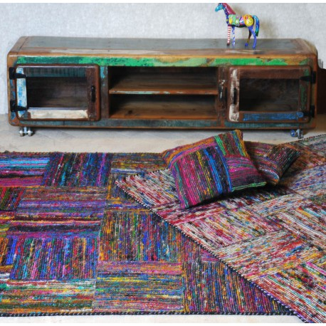 Tapis En Soie Multicolore Patchwork Silk Lane The Rug Republic