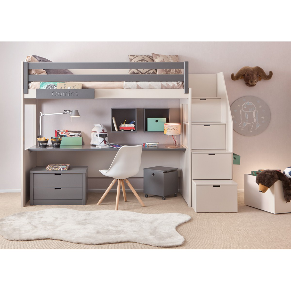 Chambre design sp cial ados juniors sign for Lit double mezzanine avec bureau