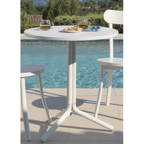 Table sobre et chic bistro sign e talenti - Table carree exterieur aluminium ...