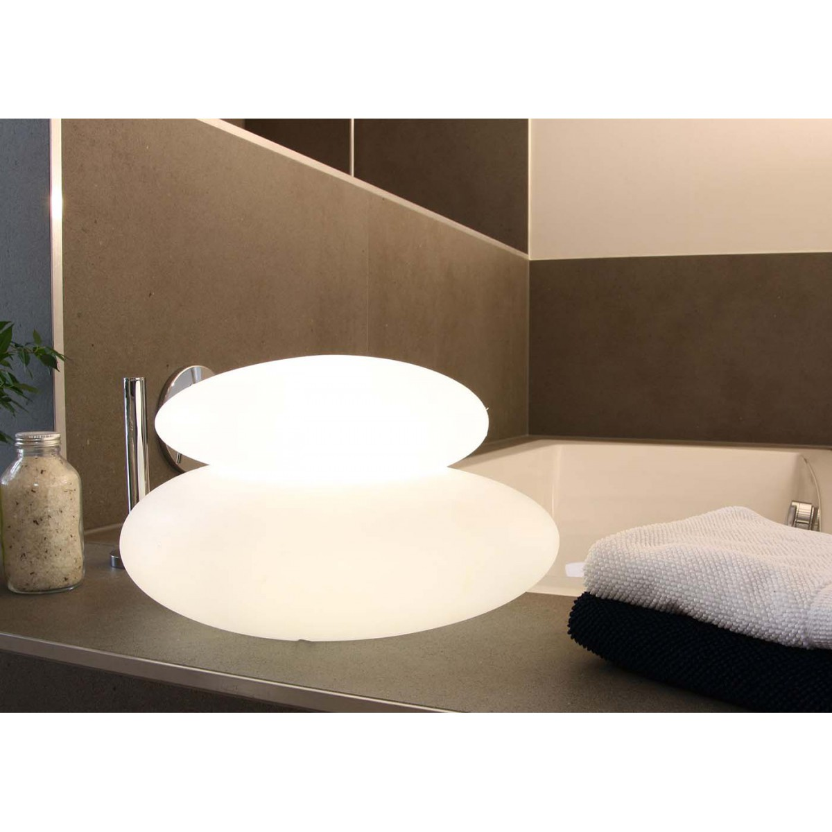 lampe int rieure ext rieure double galet lumineux 8 season 39 s design. Black Bedroom Furniture Sets. Home Design Ideas
