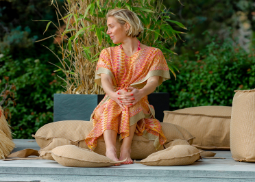 POUF OUTDOOR FORME CRABE BEIGE EFFET RAPHIA - COLLECTION TAHITI - MX HOME