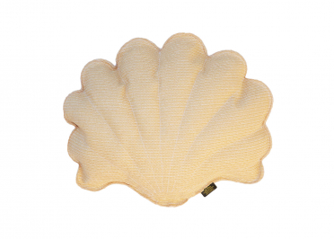 COUSSIN DECORATIF FORME COQUILLAGE BEIGE EFFET RAPHIA - COLLECTION TAHITI - MX HOME