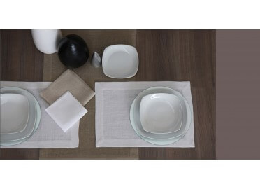 SET DE TABLE EN LIN BLANC OU BEIGE GLAMOUR