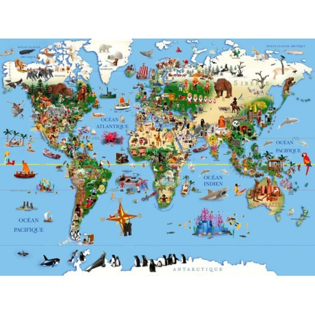 "TABLEAU ""CARTE DU MONDE"" PAR RICHARD UNGLIK"