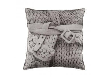 COUSSIN TENDANCE EFFET TRICOT GRIS ICED BLOOM