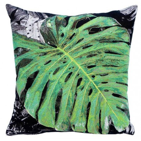 coussin d co design nature avec sa feuille de monstera par e robba. Black Bedroom Furniture Sets. Home Design Ideas