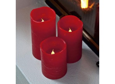 SET DE 3 BOUGIES DÉCORATIVES LED ROUGES