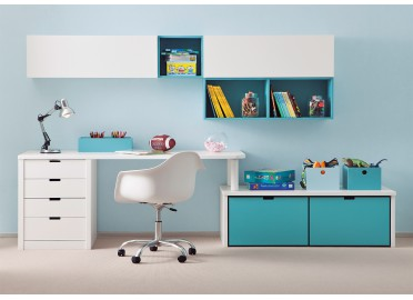 bureau pour enfant design avec caissons de rangement asoral. Black Bedroom Furniture Sets. Home Design Ideas