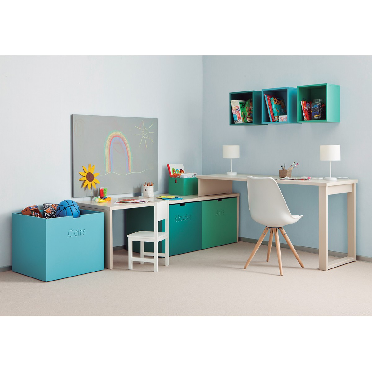 2 bureaux attenants pour enfants et juniors sign s asoral. Black Bedroom Furniture Sets. Home Design Ideas