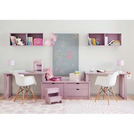 double bureau pour 2 enfants juniors avec caissons de. Black Bedroom Furniture Sets. Home Design Ideas