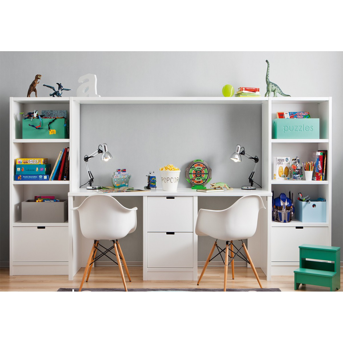 Ensemble bureau double biblioth que et caisson de for Enfant design