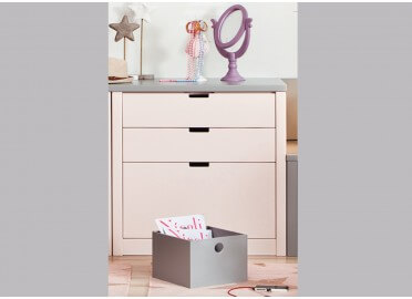 COMMODE DESIGN 3 TIROIRS L70 x P50 x H 74 - 20 COULEURS ASORAL