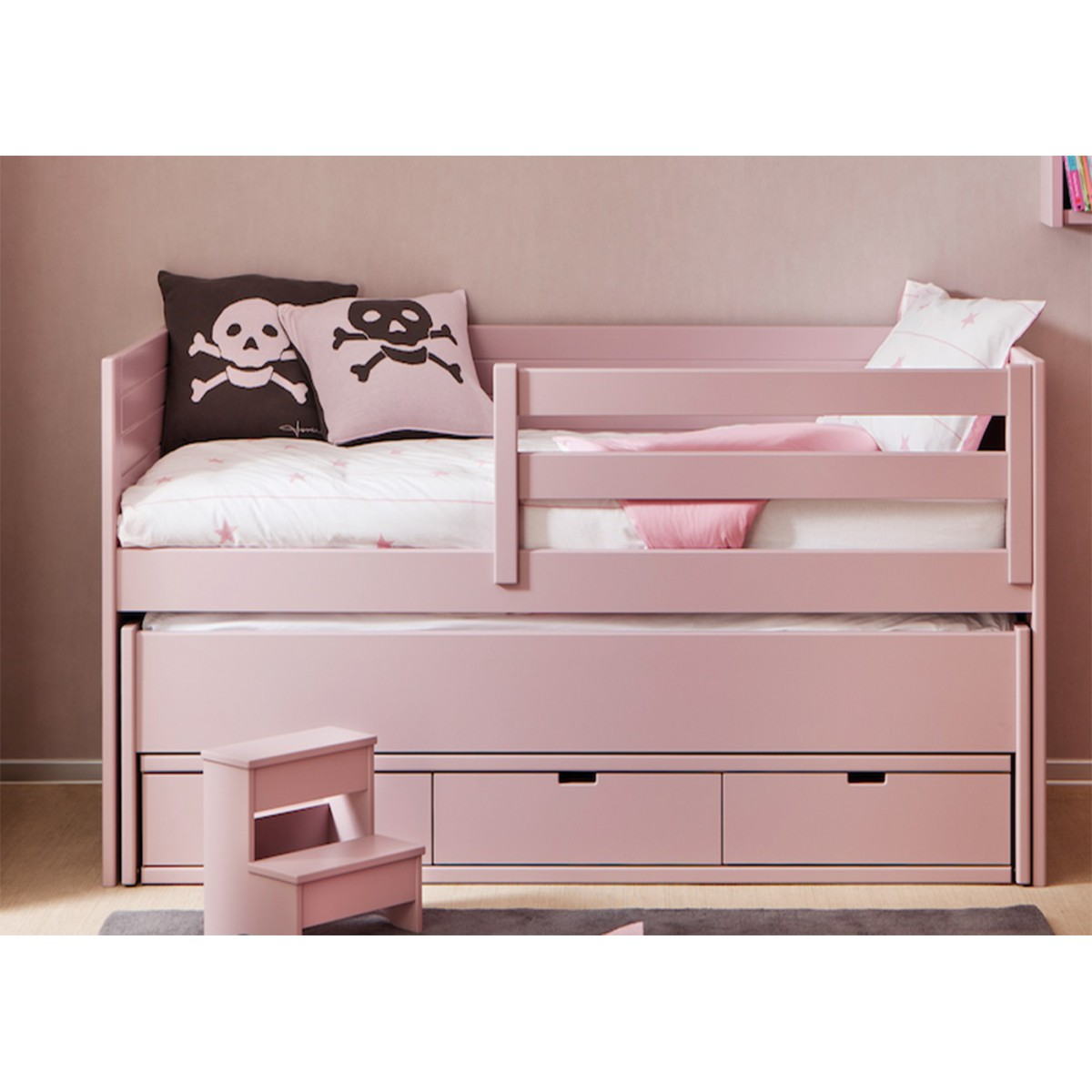 lit gigogne pour enfant avec 3 tiroirs de rangement sign. Black Bedroom Furniture Sets. Home Design Ideas