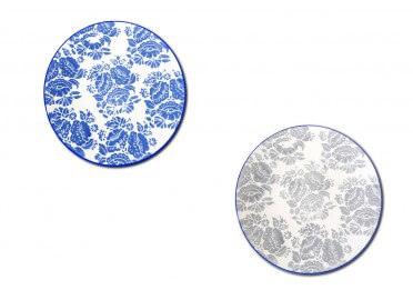 ASSIETTE PLATE IMPRESSION FLORALE BLEUE OU GRISE LAGON 6 PIECES