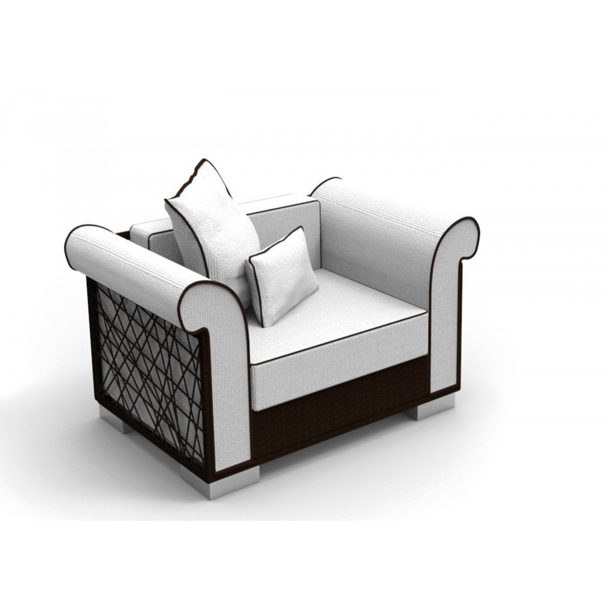 fauteuil en osier brun ou blanc par roberto serio pour talenti. Black Bedroom Furniture Sets. Home Design Ideas