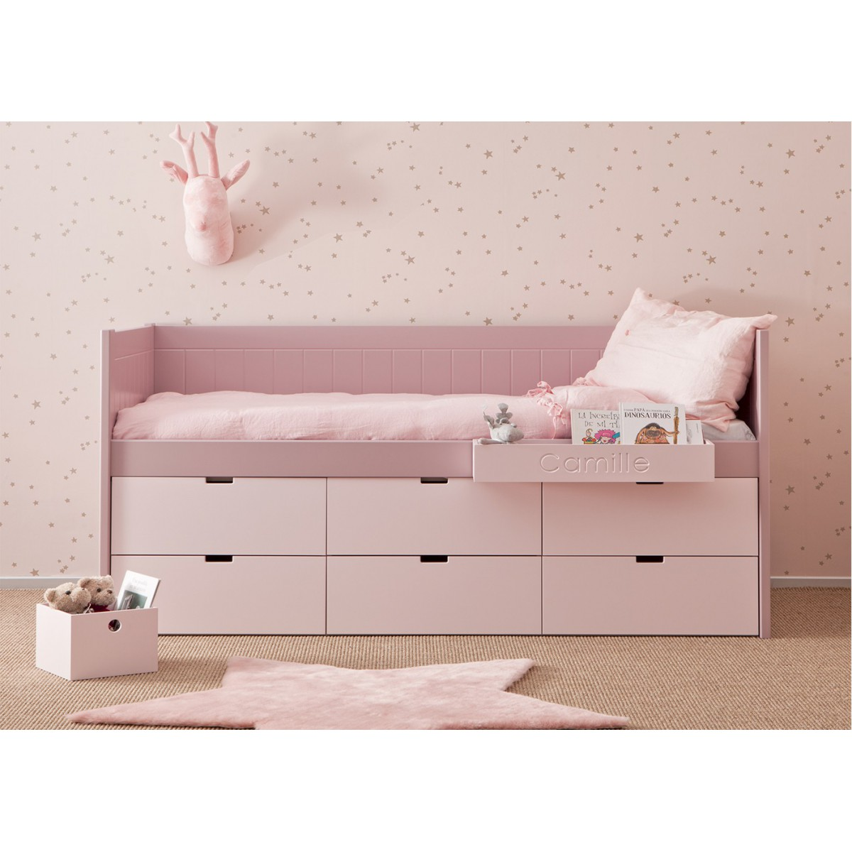 lit enfant junior avec 6 tiroirs de rangement bahia block. Black Bedroom Furniture Sets. Home Design Ideas