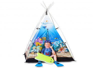 TENTE DESIGN ENFANT THEME MARIN AQUARIUM POISSON TROPIQUE