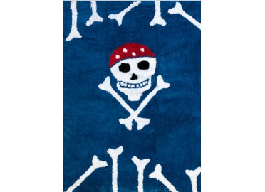 TAPIS ENFANT BLEU MARINE THEME MARIN PIRATE