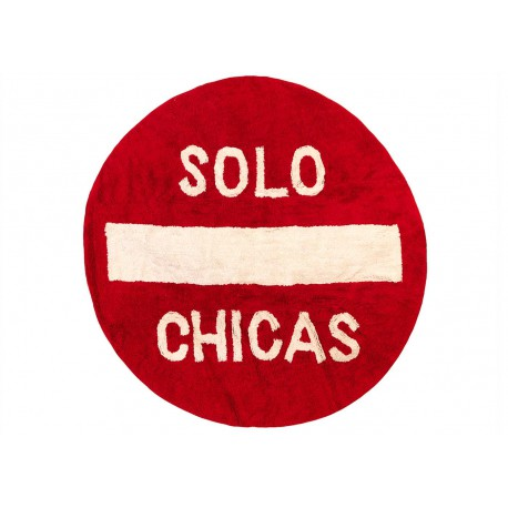 "TAPIS ADO FILLE ""SOLO CHICAS"" ROUGE FORME RONDE"