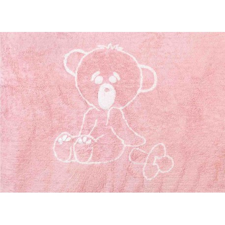 TAPIS BEBE EN COTON LAVABLE EN MACHINE THEME OURSON BLEU OU ROSE