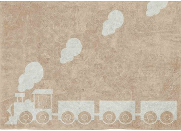 TAPIS DECORATIF POUR ENFANT THEME TRAIN BLEU GRIS OU BEIGE