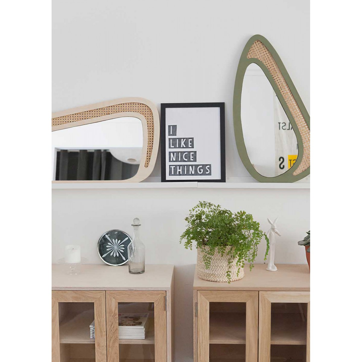miroir mural original en bois et rotin andr par blomkal. Black Bedroom Furniture Sets. Home Design Ideas