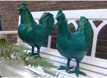 POULE DECORATIVE EN RESINE - GRAND CHOIX DE COULEURS PAR TEXARTES