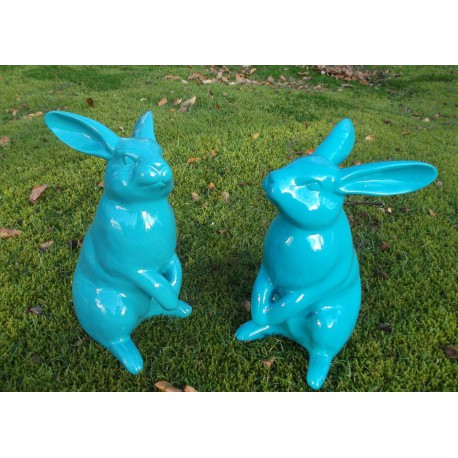 STATUE DECORATIVE ANIMAL EN RESINE LAPIN ASSIS COULEUR AU CHOIX TEXARTES