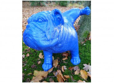 ANIMAL EN RESINE DECORATIF BOULEDOGUE ANGLAIS LEVANT LA PATTE PAR TEXARTES