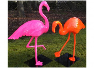 STATUE DECORATIVE FLAMANT ROSE COULEUR AU CHOIX TEXARTES