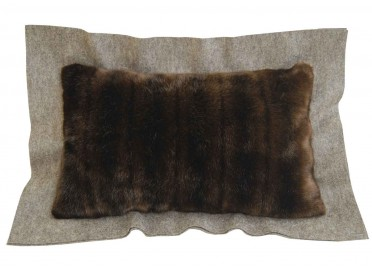 COUSSIN DECORATIF MARRON EN LAINE ET FOURRURE EVEREST PAR COSY&CHIC