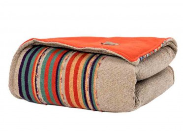 PLAID OU COURTE POINTE EN LAINE ORANGE TAUPE NAVAJO PAR ANGEL DES MONTAGNES
