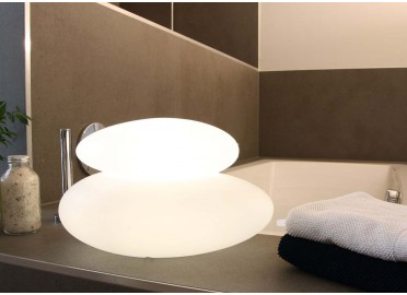 LAMPE D'AMBIANCE ZEN DOUBLE GALET LUMINEUX 7 COULEURS 2 TAILLES - SHINING STONE - 8 SEASONS DESIGN