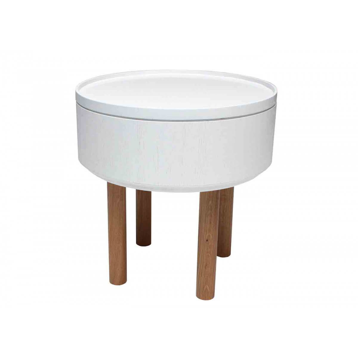 Table d 39 appoint design en bois blanc hat 2 sign e bellila for Table basse d appoint
