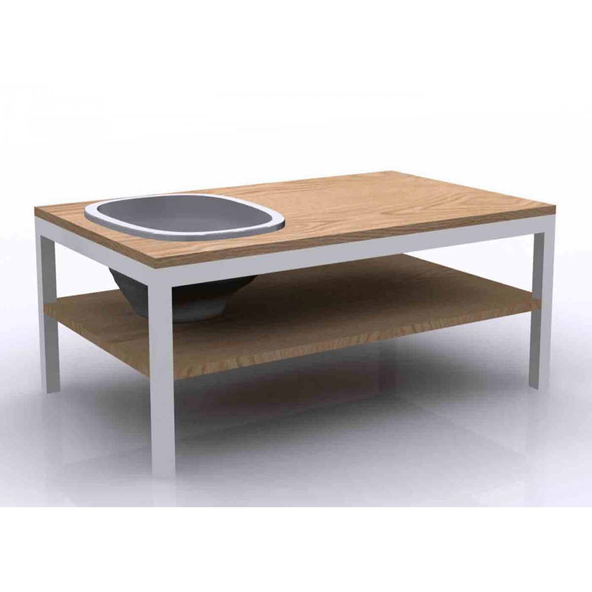 Table basse originale en ch ne et gr s lagune bois par bellila - Table basse bois contemporaine ...