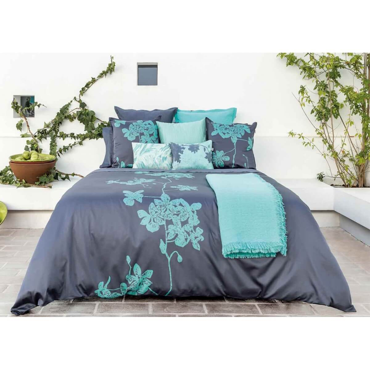 housse de couette mint et bleu batik chic par home concept. Black Bedroom Furniture Sets. Home Design Ideas