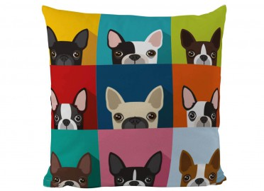 COUSSIN DECORATIF BOULEDOGUE FRANCAIS MULTICOLORE PAR BUTTER KINGS