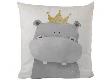 COUSSIN ENFANT MOTIF RHINOCEROS GRIS BUTTER KINGS