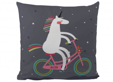 COUSSIN FANTAISIE ENFANT LICORNE A VELO BUTTER KINGS