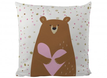 COUSSIN ENFANT THEME OURS MARRON ROSE PAR BUTTER KINGS
