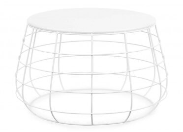 TABLE D'APPOINT MODERNE EN METAL BLANC H35*D58 CM - ITS ABOUT ROMI