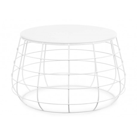 TABLE D'APPOINT MODERNE EN METAL BLANC H35*D58 CM - ITS ABOUT ROMY