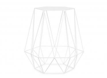 TABLE BASSE CONTEMPORAINE EN METAL NOIR OU BLANC FORME HEXAGONALE EFFET DIAMAND - ITS ABOUT ROMY