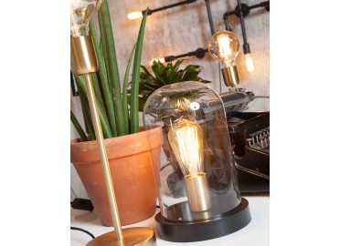 LAMPE DECORATIVE AVEC SOCLE EN BOIS NOIR ET CLOCHE EN VERRE TRANSPARENT SEATTLE - ITS ABOUT ROMI
